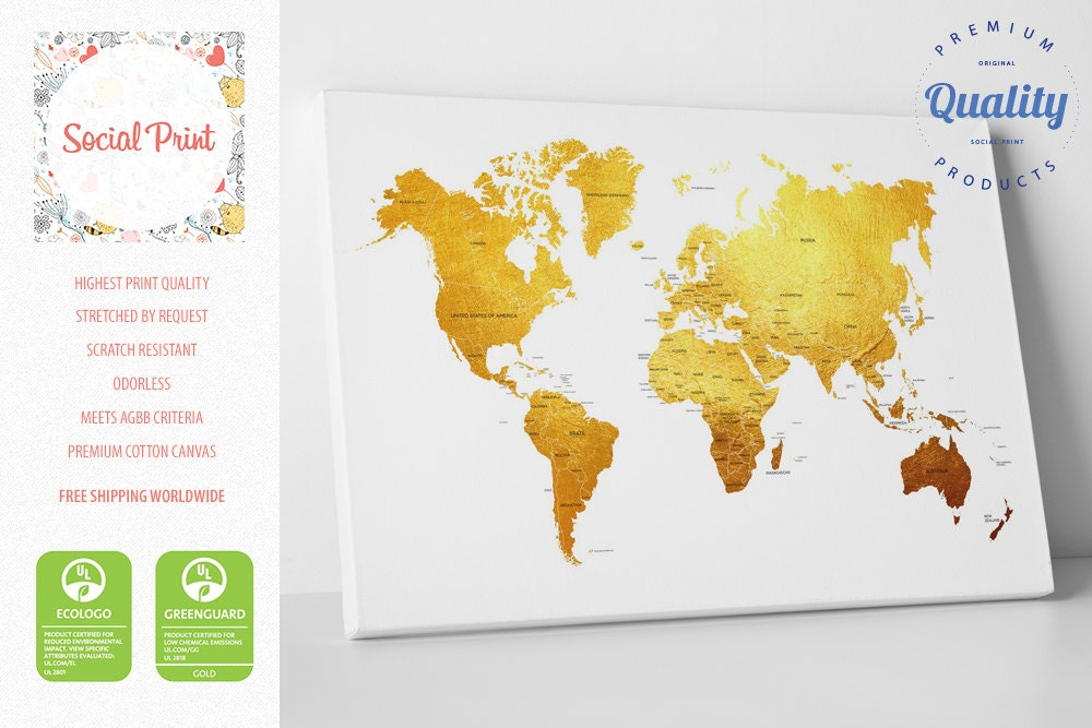 Gold world map canvas print with countries free shipping zoom gumiabroncs Choice Image