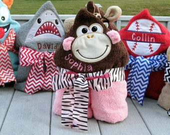 Personalized Pink Monkey Hooded Towel
