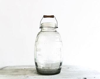 Vintage Farmhouse Huge Glass Jar with Wire Bale and Wood Handle, Clear Glass Jar, Gemdandy Electric Churn, Urban Farmhouse Decor
