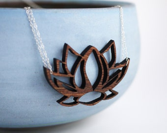 Laser Cut Wood Lotus Necklace