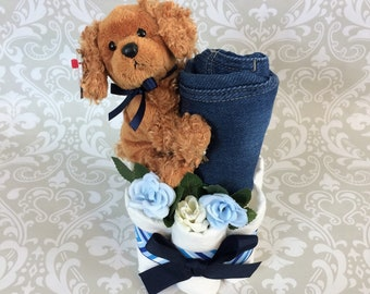 Baby  Boy Diaper Deluxe Mini Diaper Cake - an adorable baby shower gift, made to order