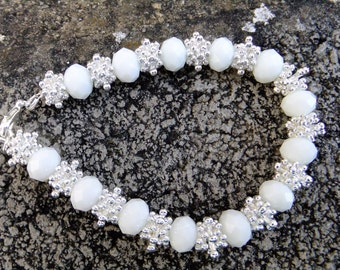 White and silver bridal bracelet