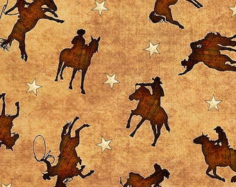 Quilting Treasures Mustang Sunset Cream Tan Cowboy Wild Horse Silhouette Fabric BTY 26486-A