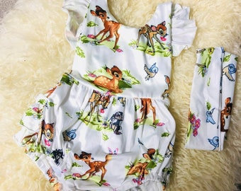 Disney style white little deer bambi Baby Romper jumpsuit with crossback and matching headband gift set