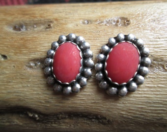 Native American Coral and Sterling Post Earrings