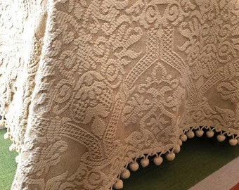 Vintage Gold Chenille Bedspread- Mid Century- Bates Woven Cotton Chenille Bedspread with Pom Pom Trim