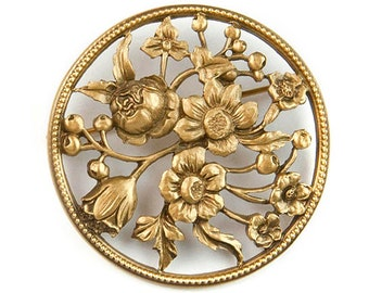Round Gold Tone Open Design Embossed Flower Floral Motif Vintage Reto Circle Romantic Shabby Chic Pin Brooch