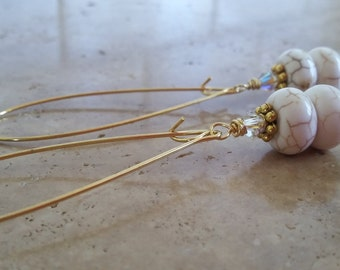Dainty Chic White Turquoise Drop Earrings
