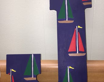 Nautical sail boat letter