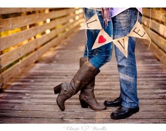 LOVE BURLAP BANNER, Wedding Photo Prop, Engagement Photo Prop, Engagement Party Banner, Engagement Banner, Valentine Burlap Banner, Hessian