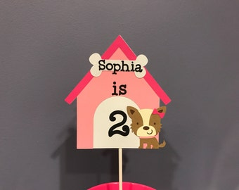 Girl Puppy Cake Topper with name and age
