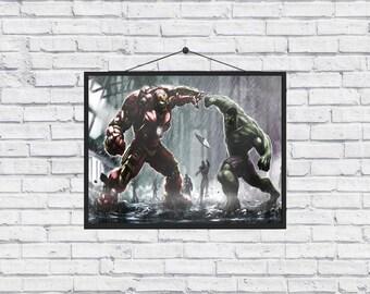 The Avengers Age of Ultron Hulk vs Hulkbuster Home Decor Poster