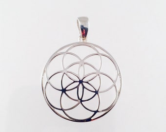 Sacred Geometry, Sterling Silver Seed of Life Pendant