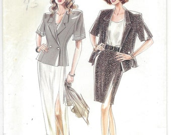 UNCUT Simplicity New Look Sewing Pattern 6054 Unlined Jacket, Shell Top and Slit Skirt in 2 Lengths, Sizes 8 - 18