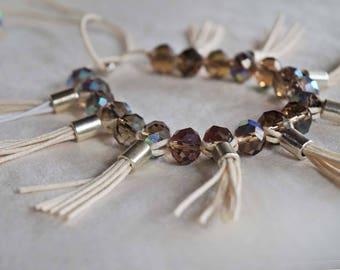 Creme Brown Crystal Anklet, Tassel Anklet, Glamor Anklet, Wedding Anklet, Upper Arm Bracelet, 1 Piece