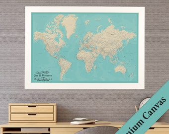 CANVAS Personalized Teal Dream World Travel Map  - Push Pin Travel Map - Map Printed on Canvas - 2nd Anniversary Gift - Map Your Travels