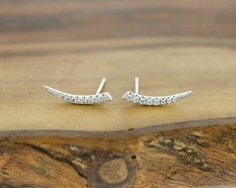 925 Sterling Silver CZ Horn Earrings