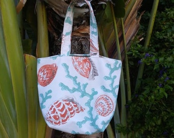 Floral Tote-Coral Tote-Beach Tote-Everyday Tote-Canvas Tote- Gift for Her-Fabric Tote