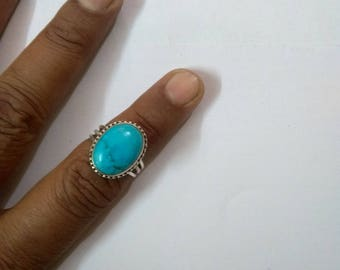 Turquoise ring, 925 Sterling silver ring, Handmade ring