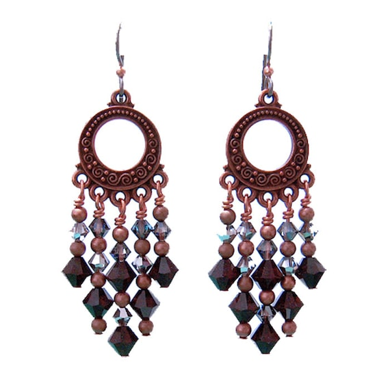 Red Givenchy Chandelier Earrings: Garnet Red Chandelier Earrings / 65mm Length / Dark Copper And