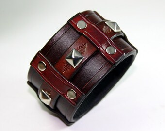Leather Cuff Bracelet - Classic Rock Star Style Studded Buckle Cuff!