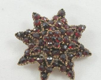 April Sale Antique Victorian Garnet Brooch Pin in Eight-Point Star