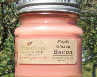 MAPLE GLAZED BACON Soy Candle - Bacon Candles - Bacon gifts - Bacon lovers gift - Breakfast Candle