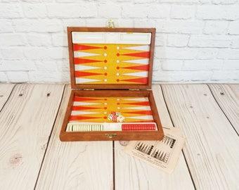 Vintage Mini Magnetic Travel Backgammon Set With Instructions