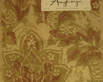 Karyn Hand Printed Silk Jacobean Floral Designer Fabric Sample