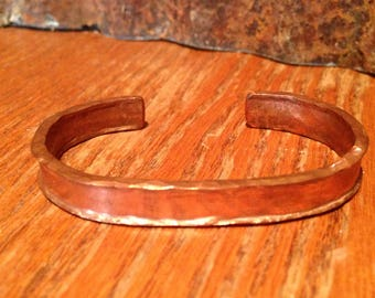 Women's  Rustic Chic Motorcycle Hammered Copper Cuff, Artisan Hammered Copper Bracelet made in the USA