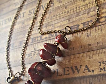 Item 1919 Red Riverstone Cluster Necklace