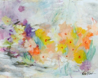 """Abstract Expressionist Flowers on Paper, Intuitive Original in Acrylics, """"March Bluster"""""""