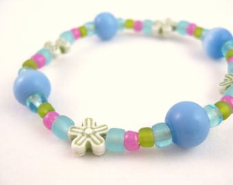 Blue Green and Pink Bracelet with Green Flowers, Large Girls Stretch Bracelet, GBL 110
