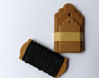 30 Gift pendant brown with ribbon in a set of kraft paper labels