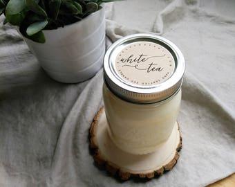 white tea - 16 oz mason jar - hand poured soy candle