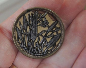 Large Antique Picture Button  - Reeds And Pods - 1 1/8 Inches - Brass And Steel - REDuCED