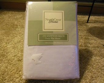 White Twin Flat Sheet By Northcrest, New Packaged, Old Stock
