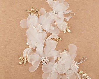 Floral Bridal Hair Headpiece Wedding Hair Accessory, Wedding Day Accessories