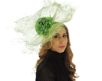 Sarena Lime Green Hat for Weddings, Races, and Special Events With Headband (in 30 colours)