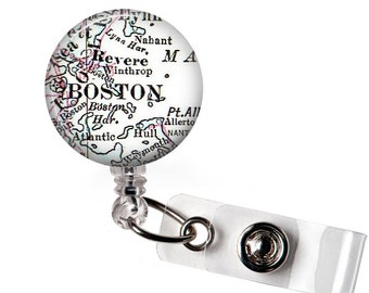 Retractable Badge Id lanyard, Boston Custom Badge Id Tag, Name Badge Reel, Nurse, Security Identification, Name Badge Clips, A243