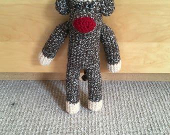 Tall Crochet Sock Monkey