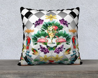 Black & White Checkerboard with Pink Flamingos and Vintage Flowers Pillow Cover