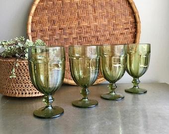vintage mossy green Libbey Duratuff glass goblets Gibraltar stemmed glassware set of 4 2 sets available