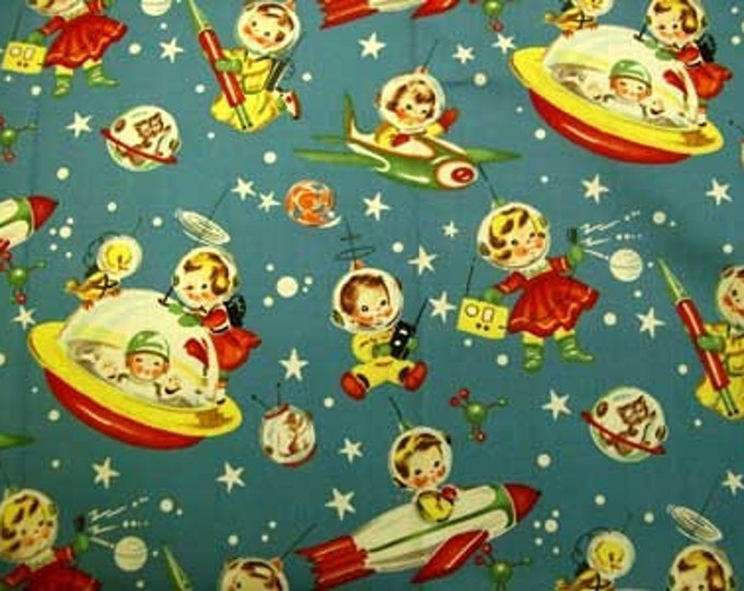 Michael Miller RETRO ROCKET RASCALS Novelty Quilt Fabric by the Yard, Half Yard, or Fat Quarter Teal Blue Aqua