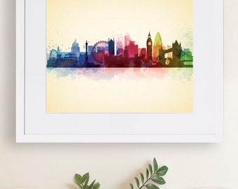 London, England Skyline Artwork, Watercolor Print, Instant Download, Digital Print, , Wall Art print
