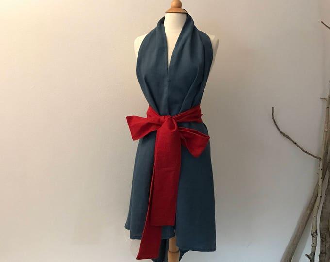 bonnot linen chic low cut halter dress with crimson obi sash ready to wear / linen halter dress / linen dress with obi