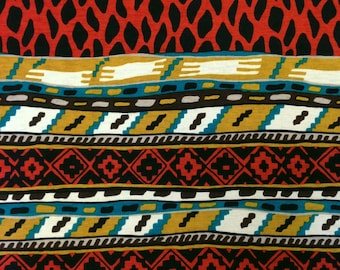 African Tribal Pattern on Stretch Bulgari Jersey Polyester Spandex Fabric - 58 to 60 Inches Wide - By the Yard or Bulk