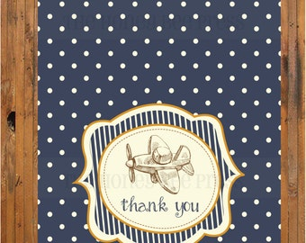 Vintage Airplane Thank You Card - Vintage Planes, Trains and Automobiles Baby Shower  Item 0060TY