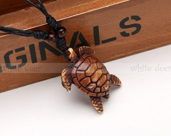 Resin Wood Pendant Necklace Carving Lucky Brown White Wise Sea Turtle Marine Art