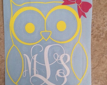 Custom/Personalized Vinyl Owl Car Decal With Monogram And Bow